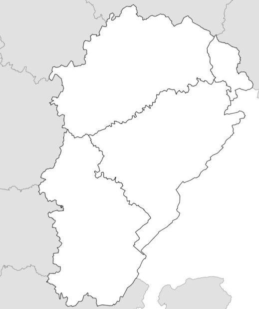 Carte vierge des départements de la Franche-Comté