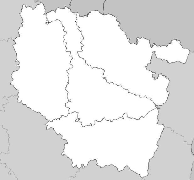 Carte vierge des départements de la région Lorraine