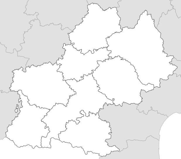 Carte vierge avec départements Midi-Pyrénées