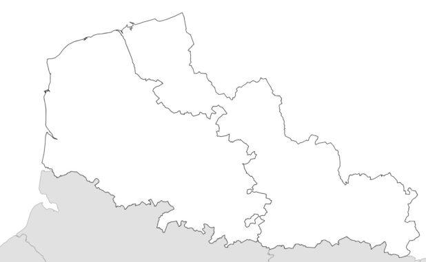 Carte vierge des départements du Nord-Pas-de-Calais
