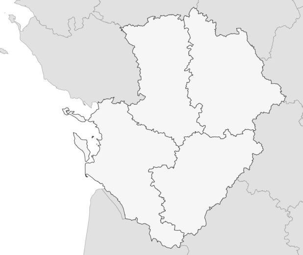 Carte vierge avec départements du Poitou-Charente
