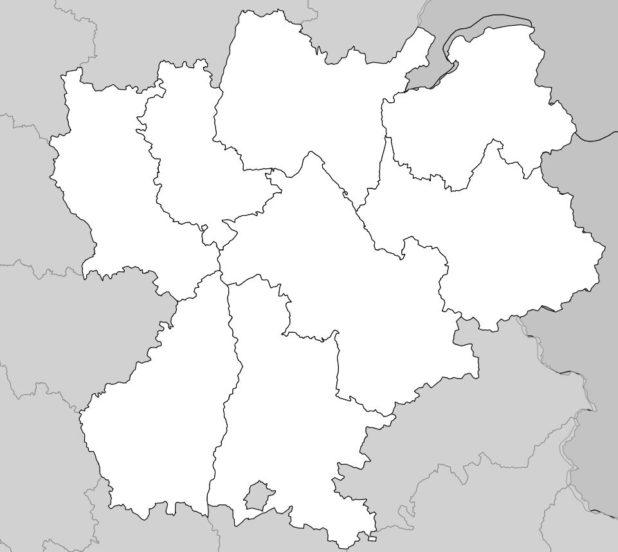 Carte vierge des départements de Rhône-Alpes