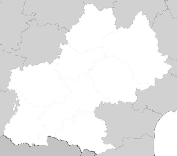 Carte vierge Midi-Pyrénées