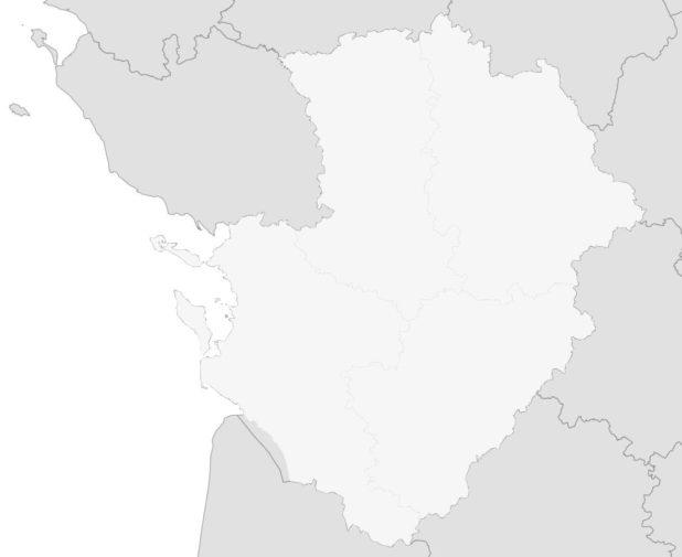 Carte vierge de la région Poitou-Charente