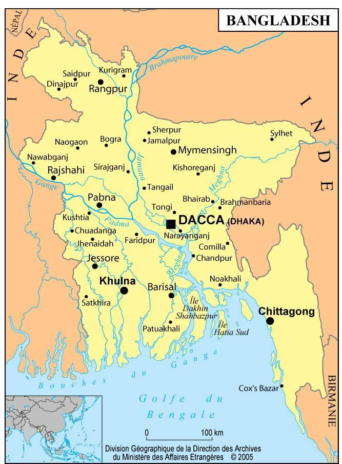 Carte du Bangladesh   Plusieurs cartes du pays d'Asie