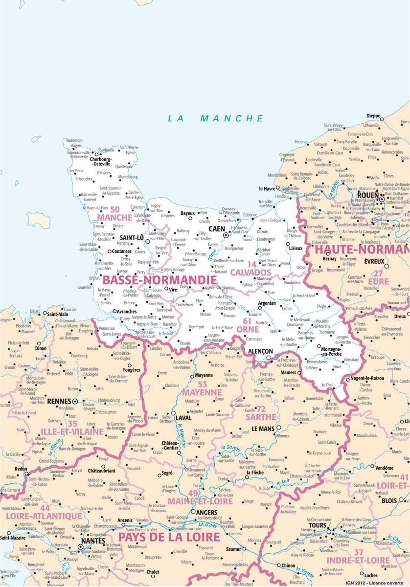 Carte des villes de la Basse-Normandie