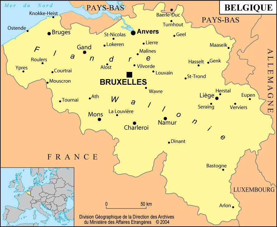 Carte des villes de la Belgique