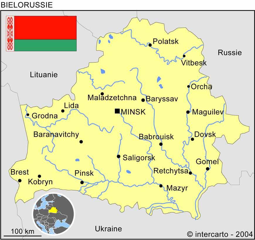 Carte des villes de la Biélorussie