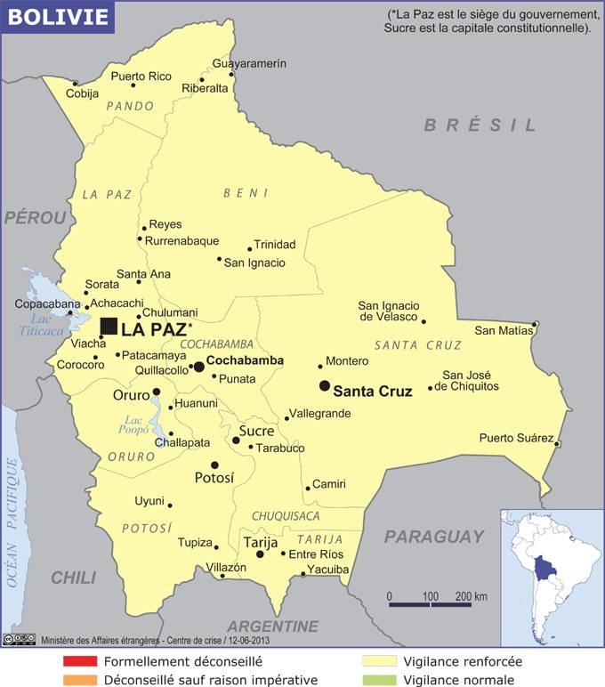 Carte des villes de la Bolivie