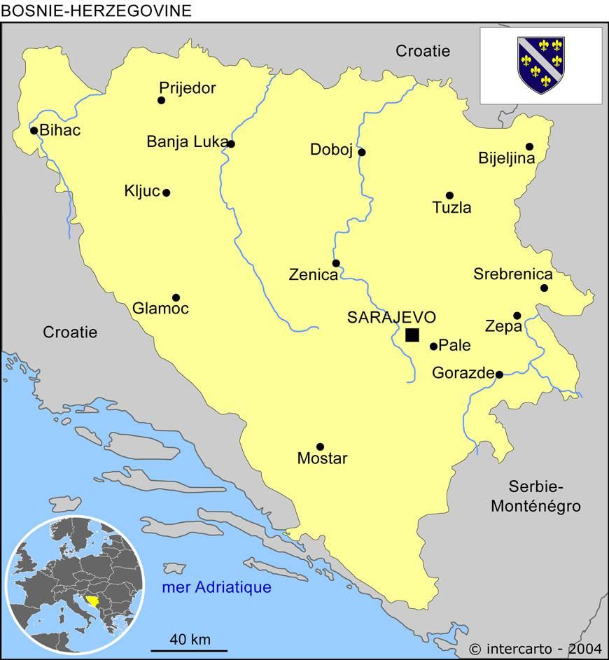 Carte des villes de la Bosnie-Herzégovine