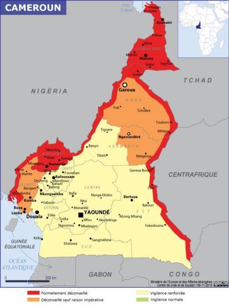 Carte des villes du Cameroun