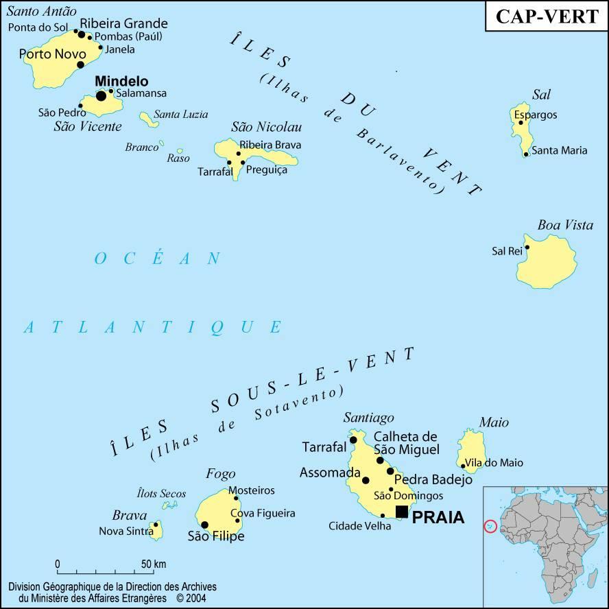 Carte des villes du Cap-Vert