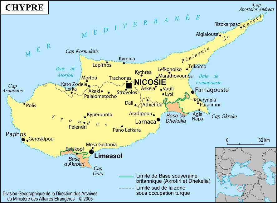 Carte des villes de Chypre