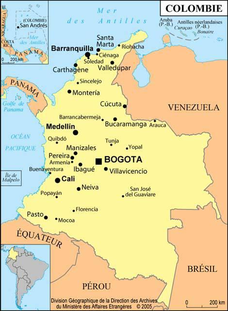 Carte des villes de la Colombie