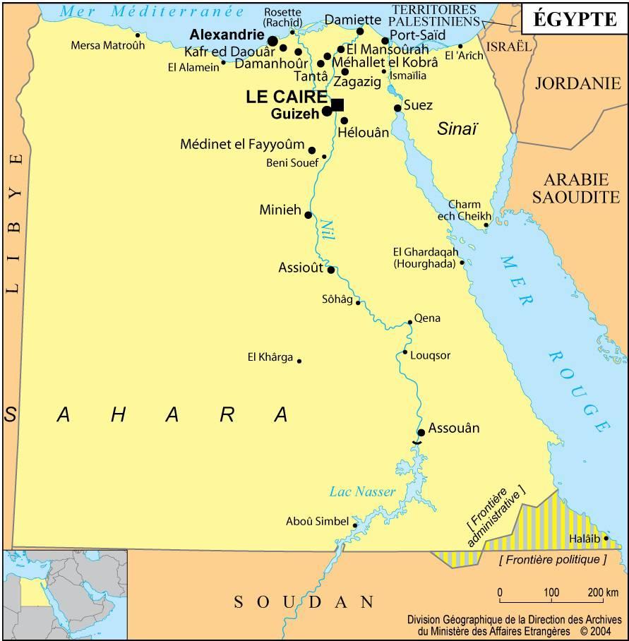 Carte des villes de l'Egypte