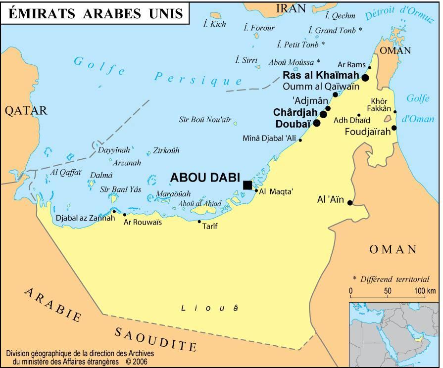 Carte des villes des Emirats arabes unis