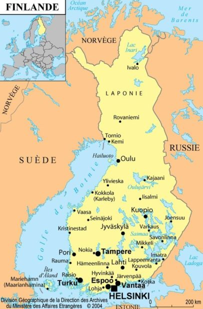 Carte des villes de Finlande