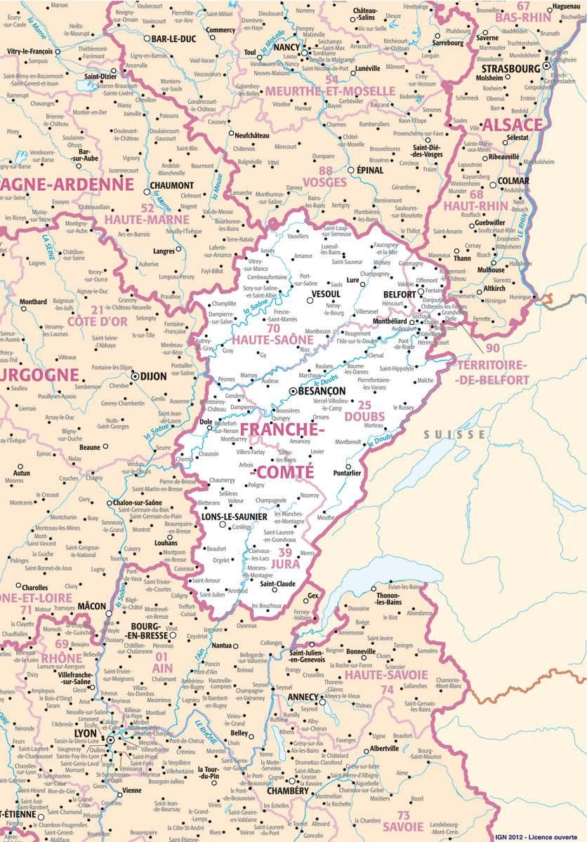 Carte des villes de la Franche-Comté
