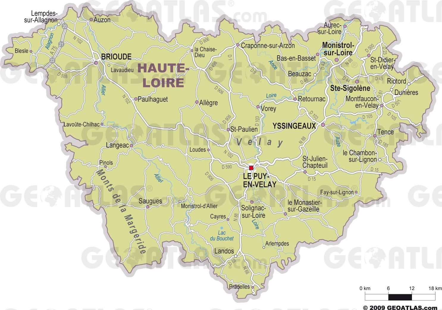 Carte des villes de la Haute-Loire