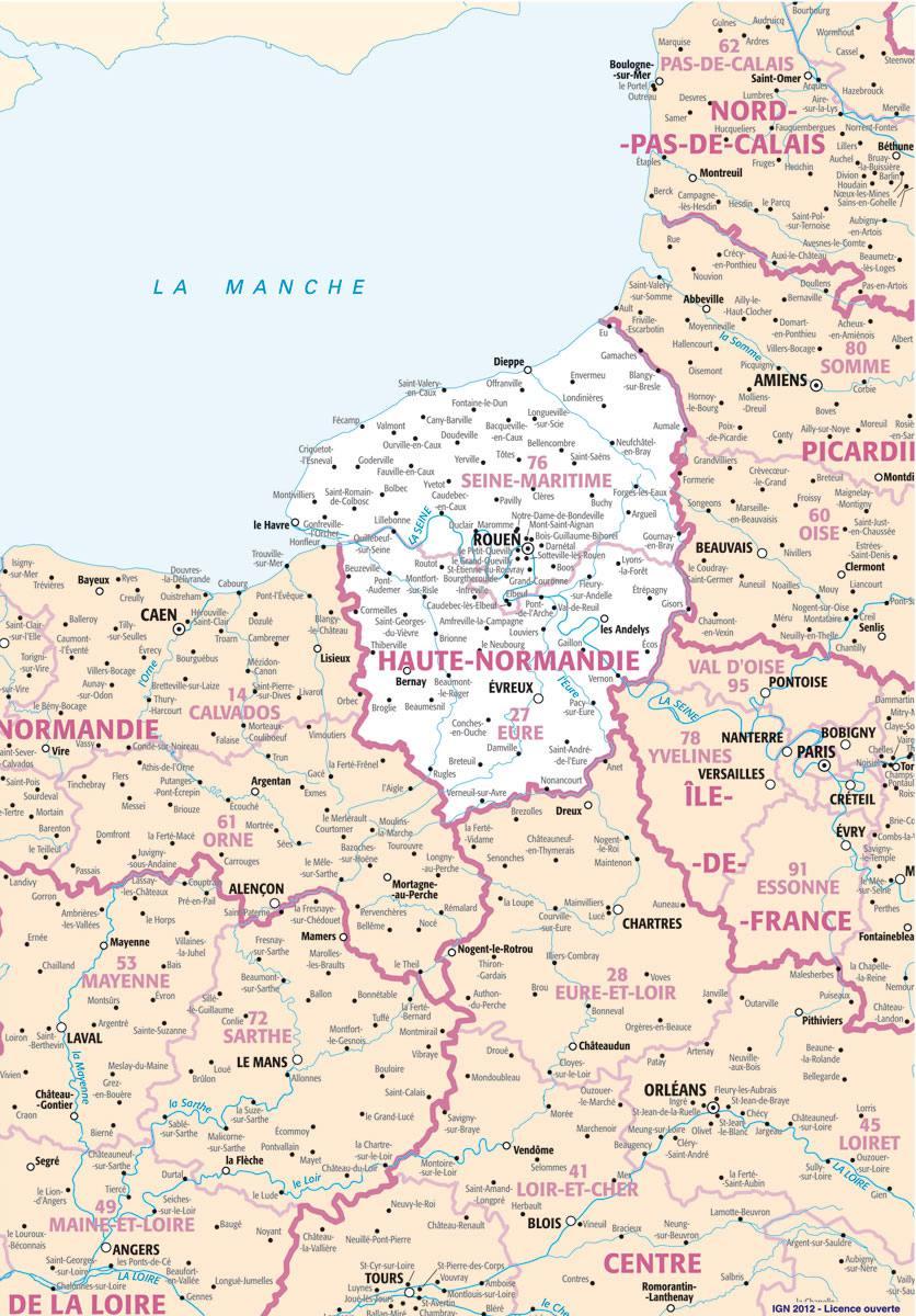 Carte des villes de la Haute-Normandie