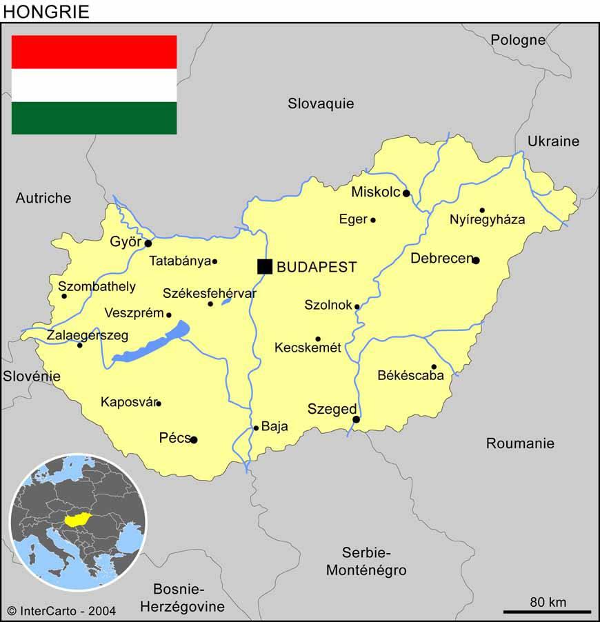Carte des villes de la Hongrie