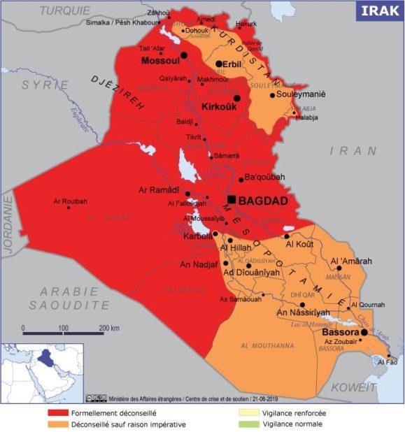 Carte des villes Irak