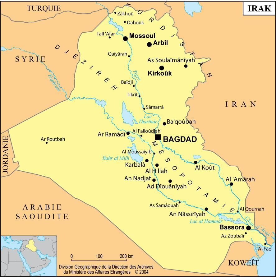 Carte de l'Irak (Iraq)  Plusieurs cartes du pays du Moyen Orient