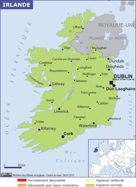 Carte des villes d'Irlande