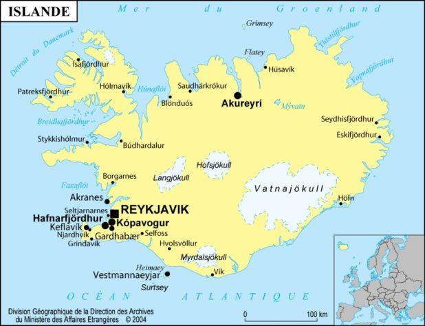 Carte des villes en Islande