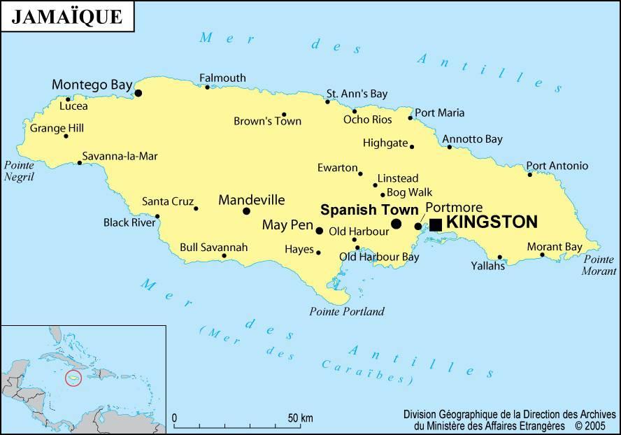 Carte des villes de la Jamaïque