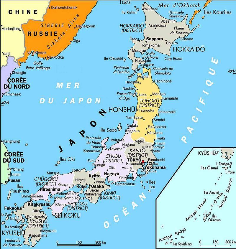Carte des villes du Japon