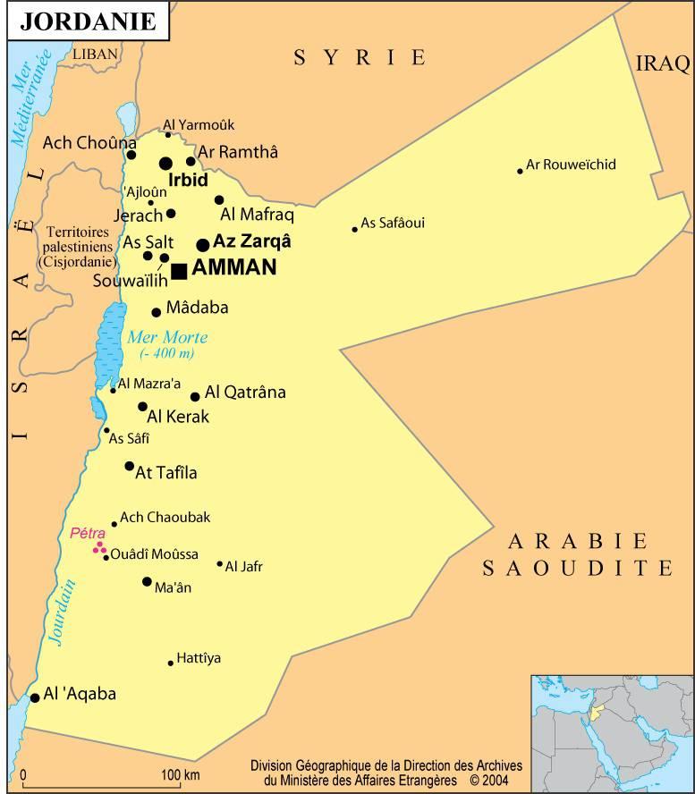 Carte des villes de la Jordanie