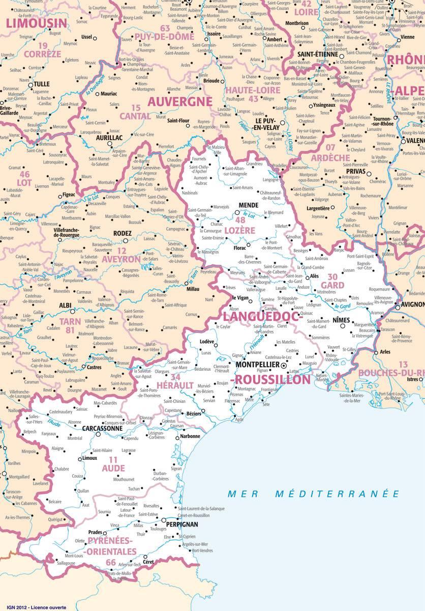 Carte des villes du Languedoc-Roussillon