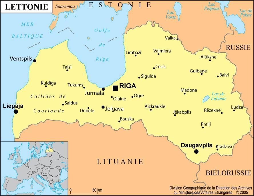 Carte des villes de la Lettonie