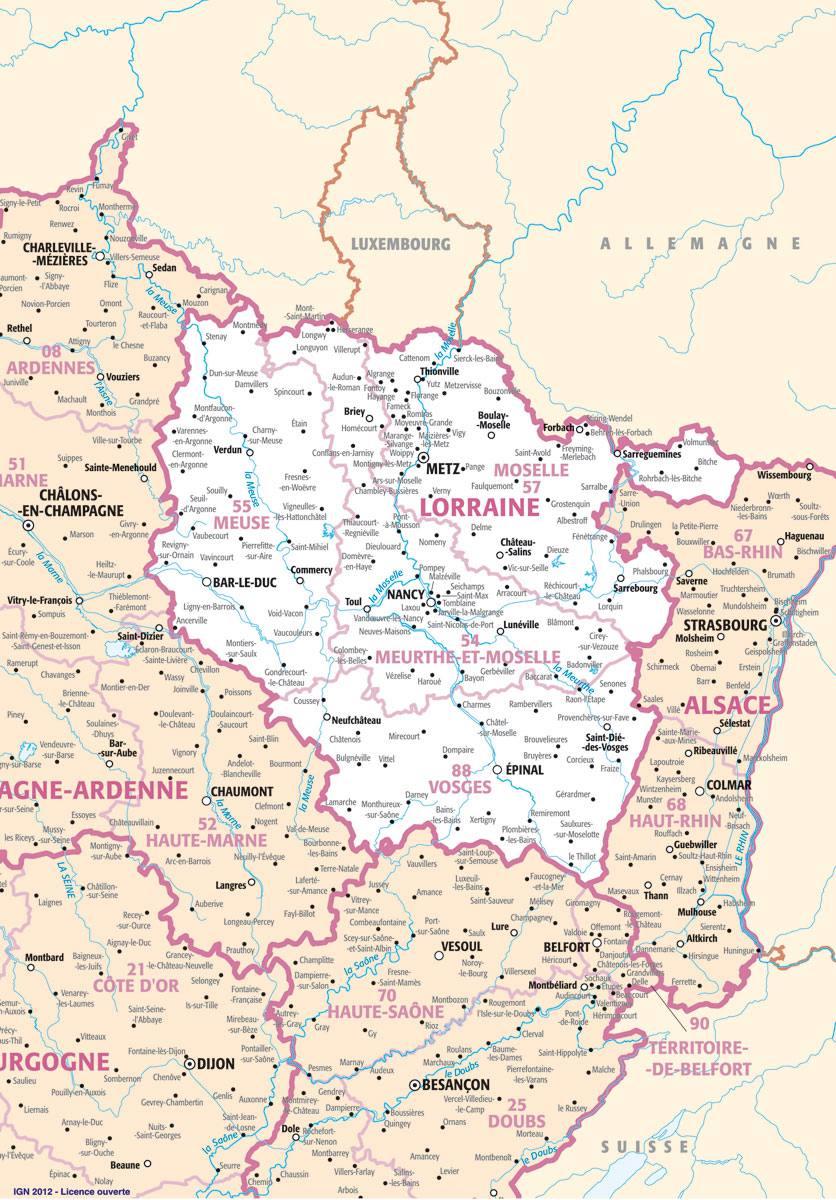 Carte des villes de la Lorraine