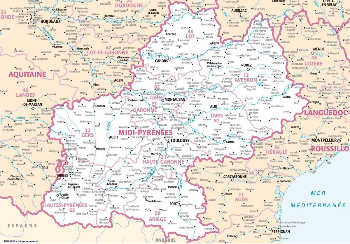 Carte des villes de Midi-Pyrénées
