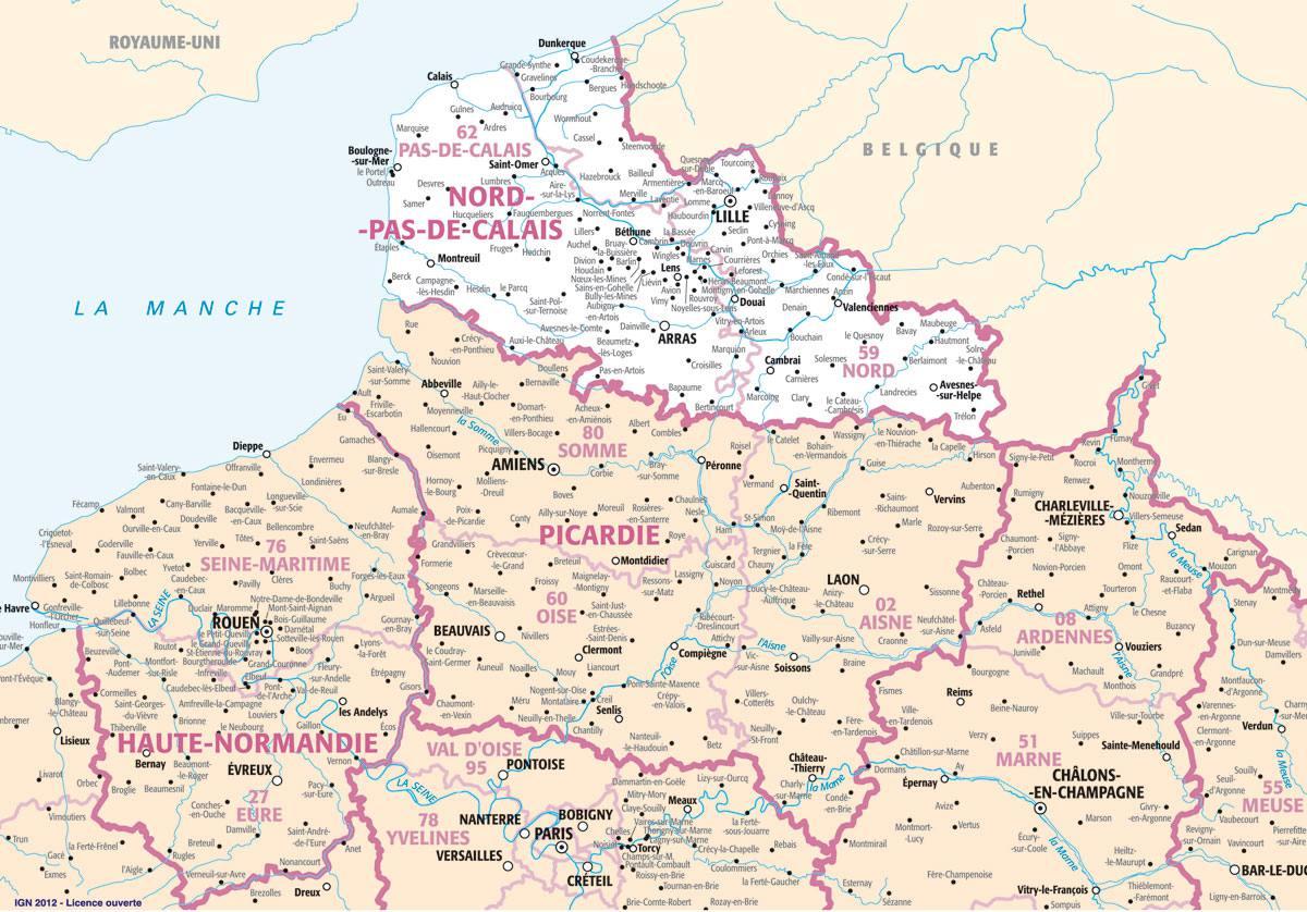 Carte des villes du Nord-Pas-de-Calais