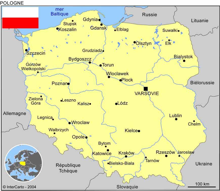Carte des villes de la Pologne