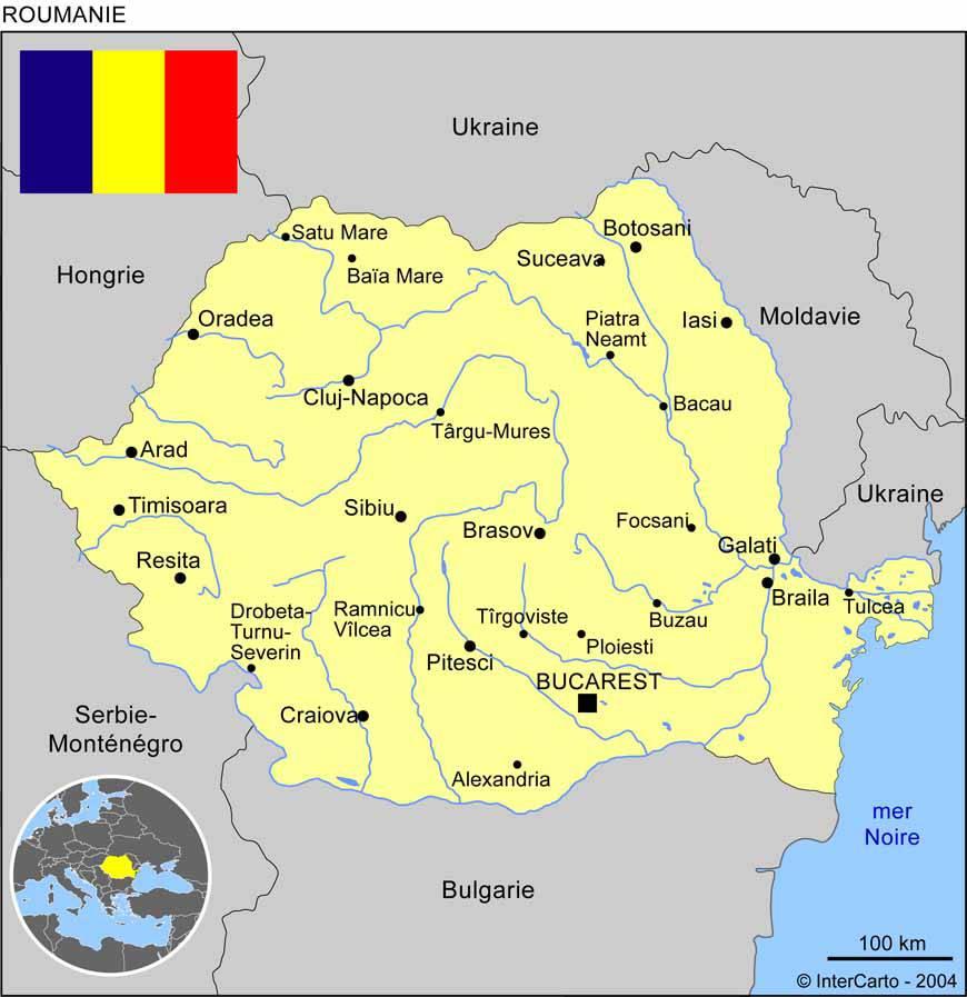 Caret des villes de la Roumanie