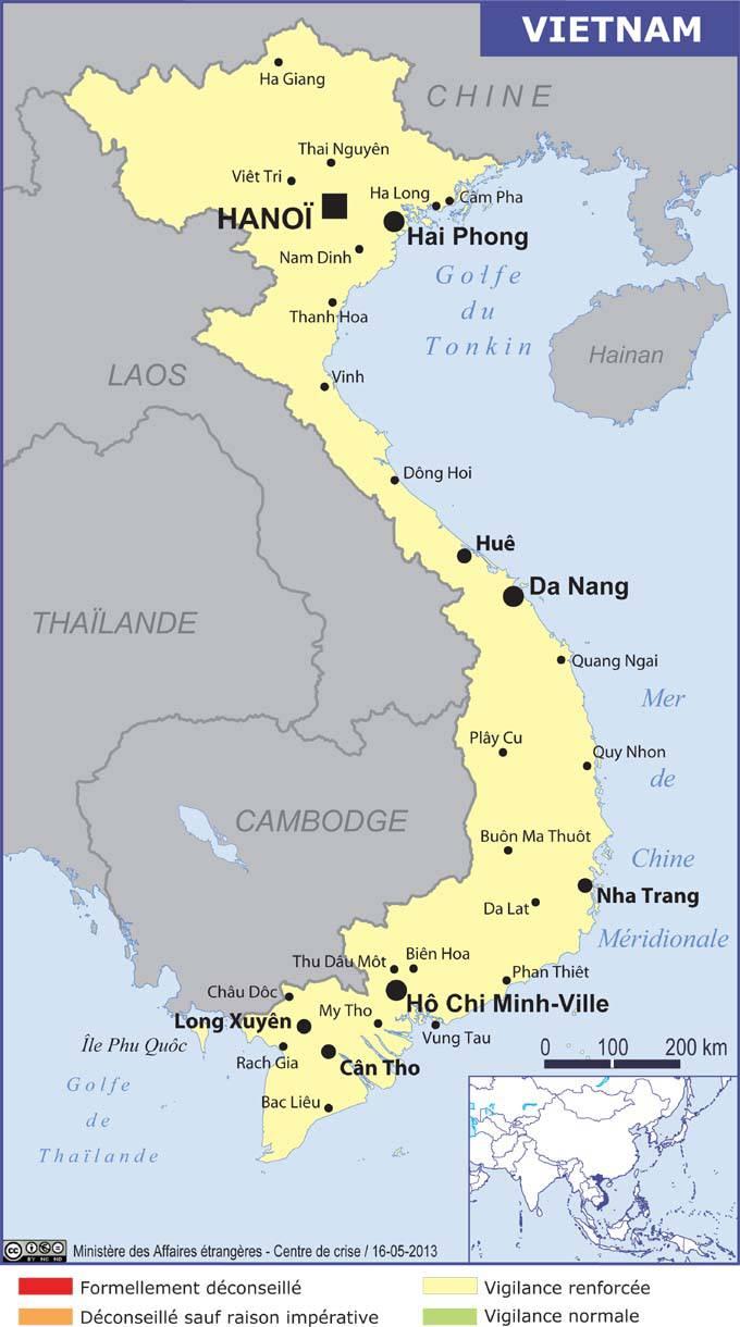 Carte des villes du Vietnam
