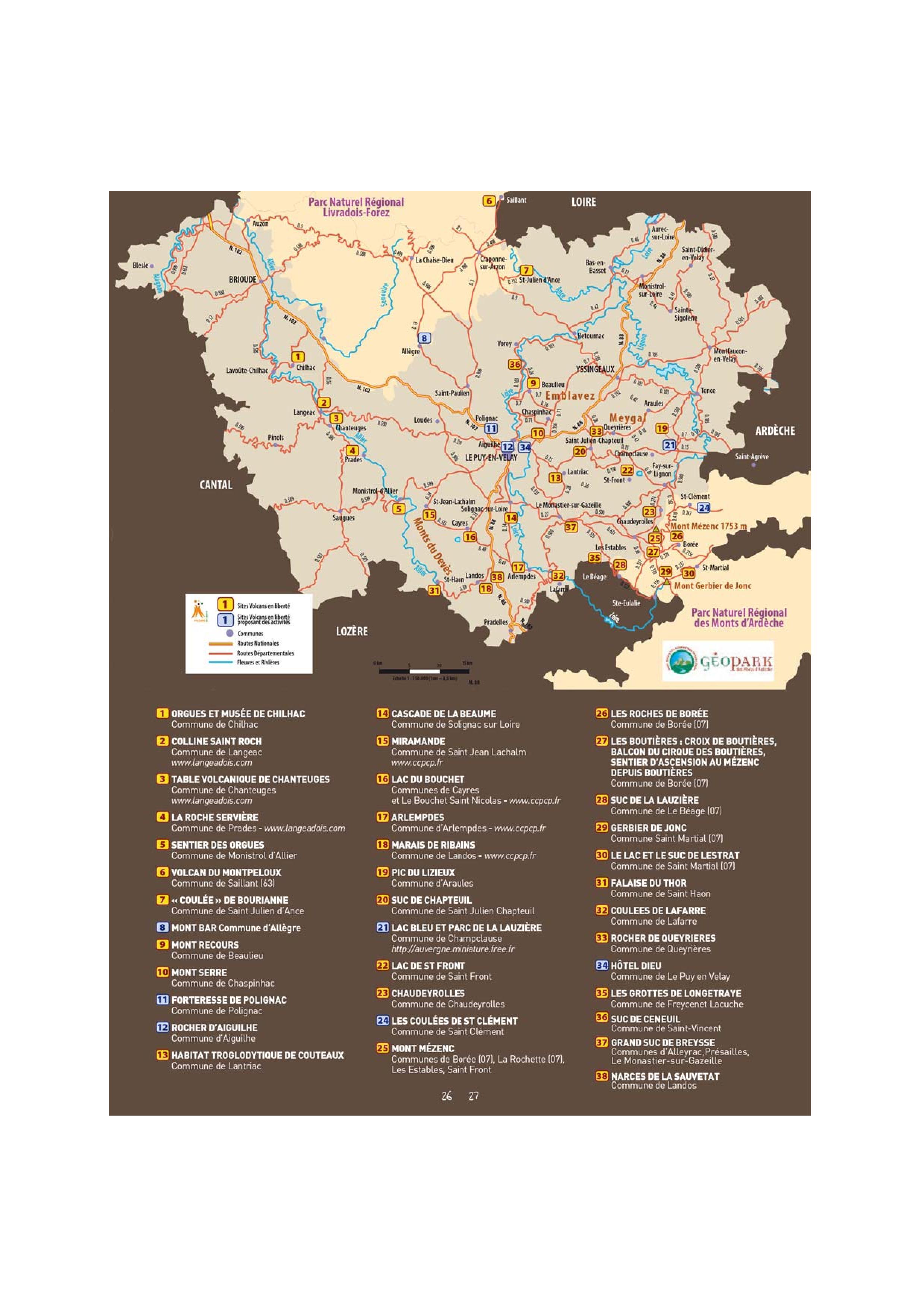 Carte des volcans de Haute-Loire