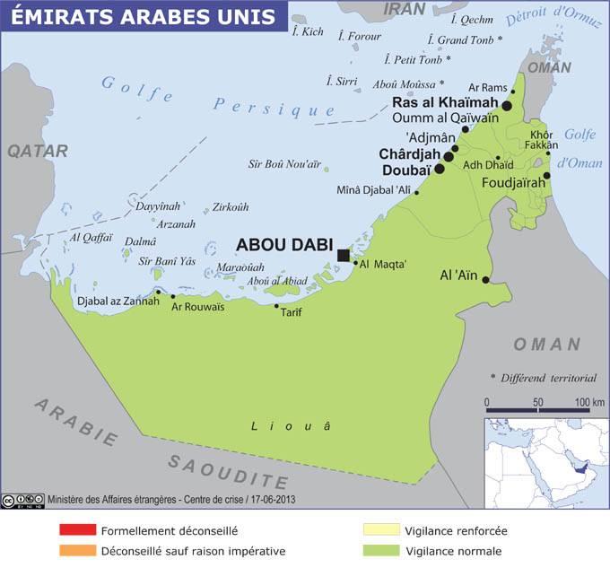 Carte de voyage des Emirats arabes unis