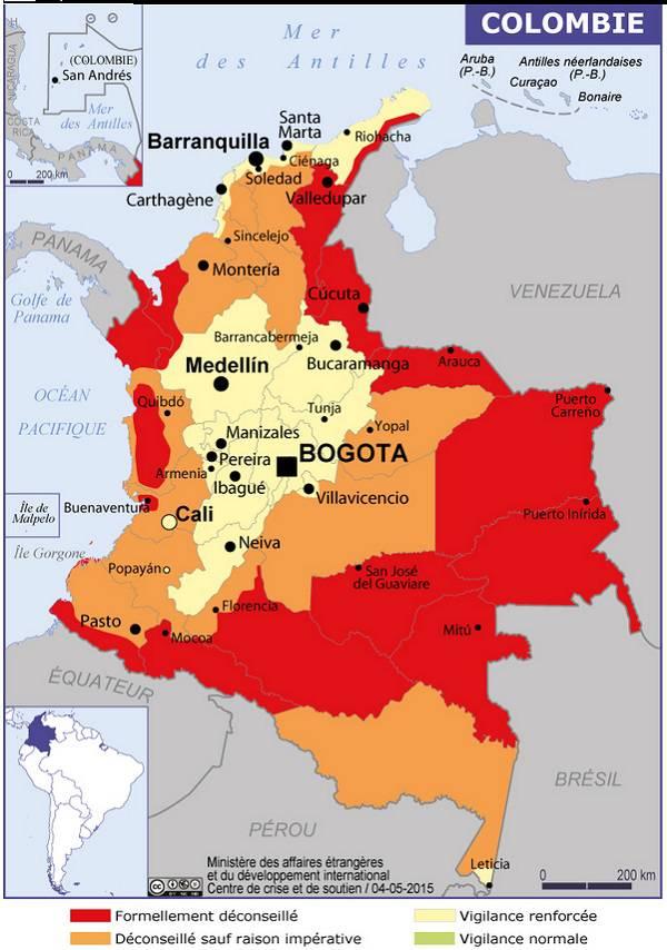Carte des zones dangereuses de la Colombie