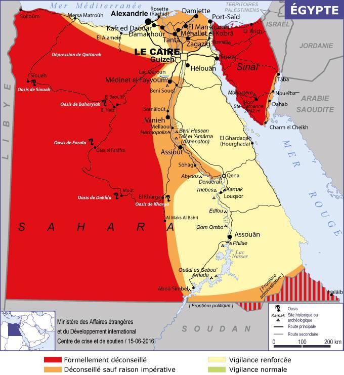 Carte des zones dangereuses de l'Egypte