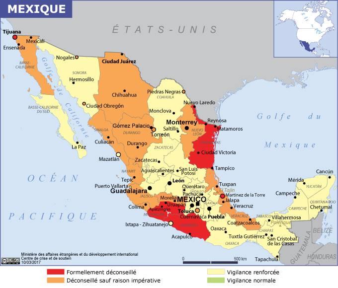 Carte des zones dangereuses au Mexique