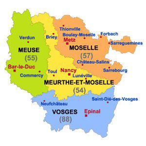 Carte des départements de la Lorraine