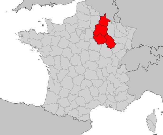 Champagne-Ardenne sur une carte de France