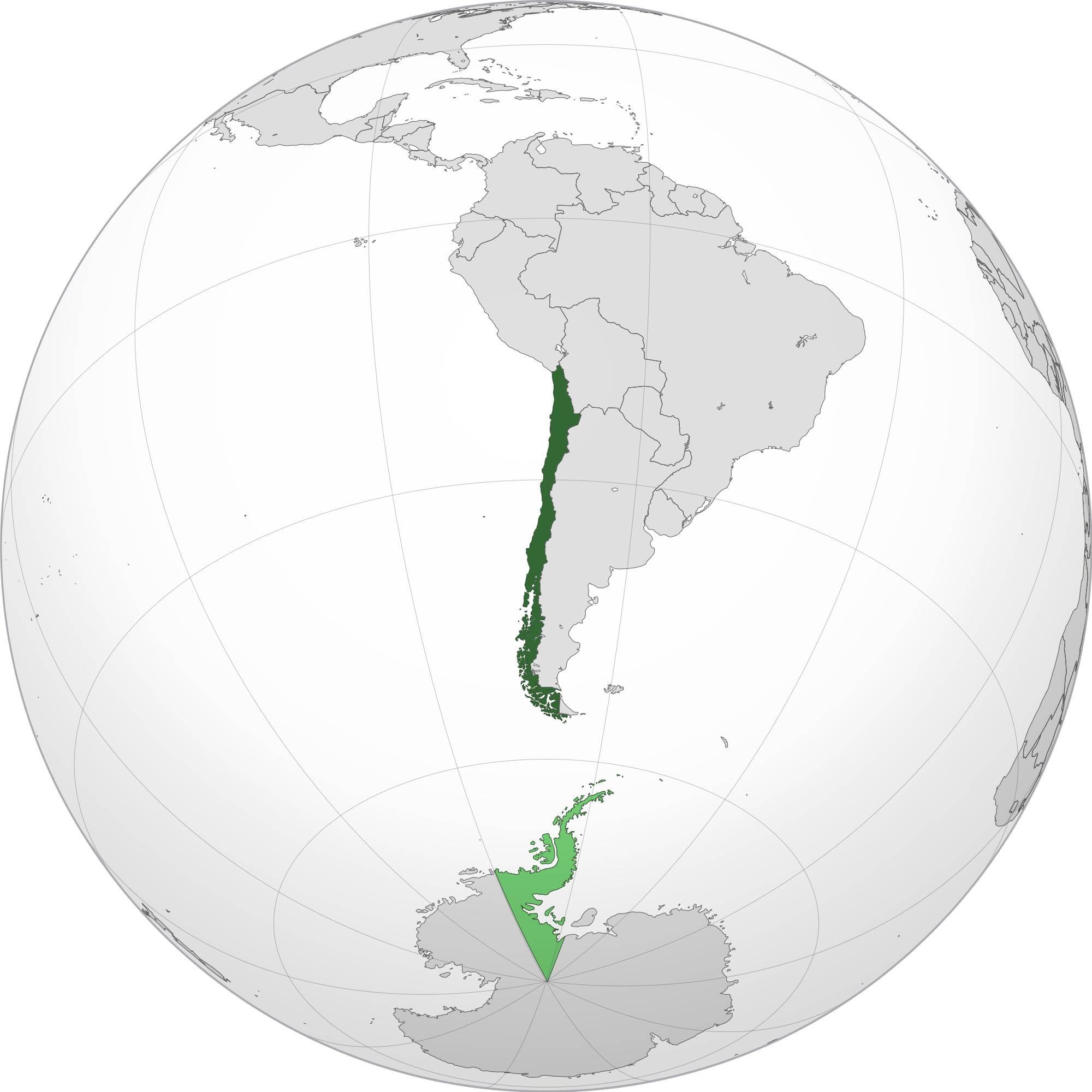 Chili sur la carte de l'Amérique-du-Sud