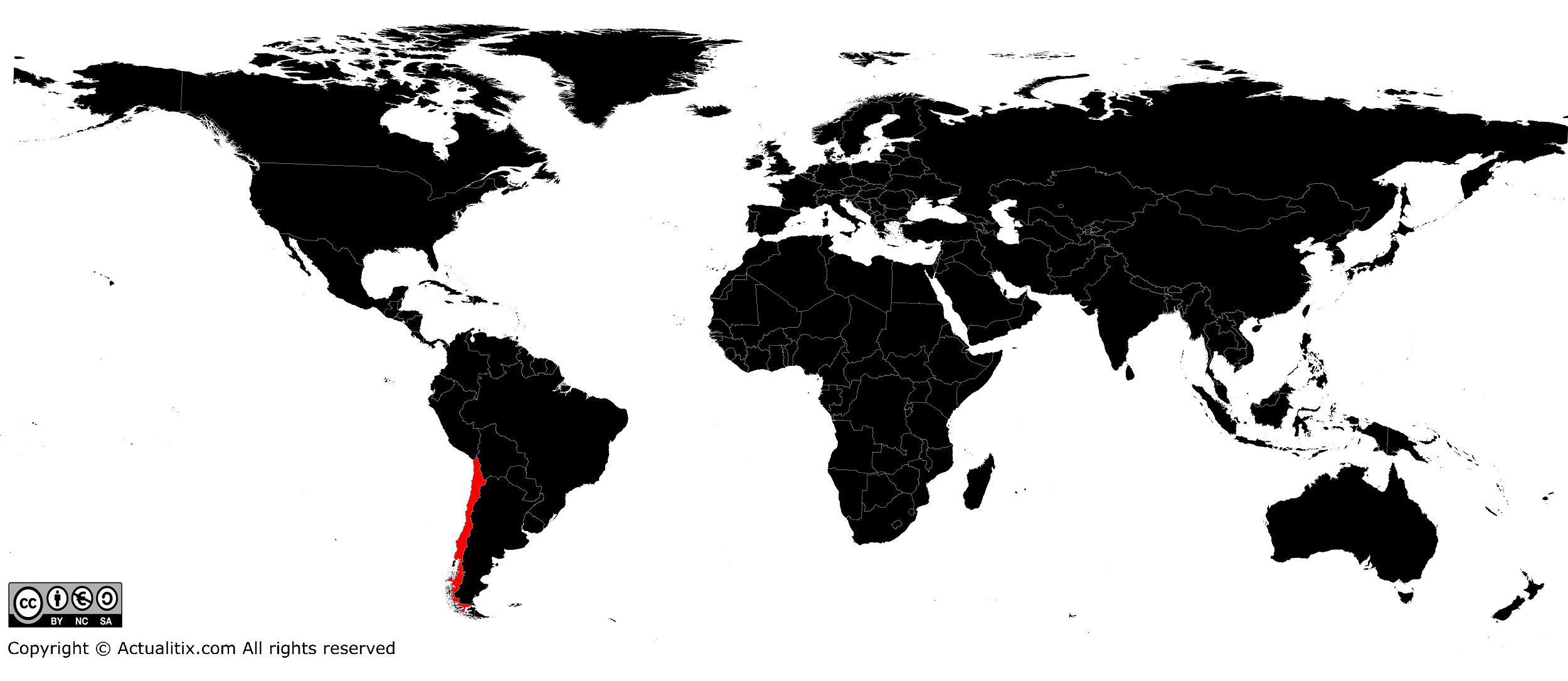 Chili sur une carte du monde
