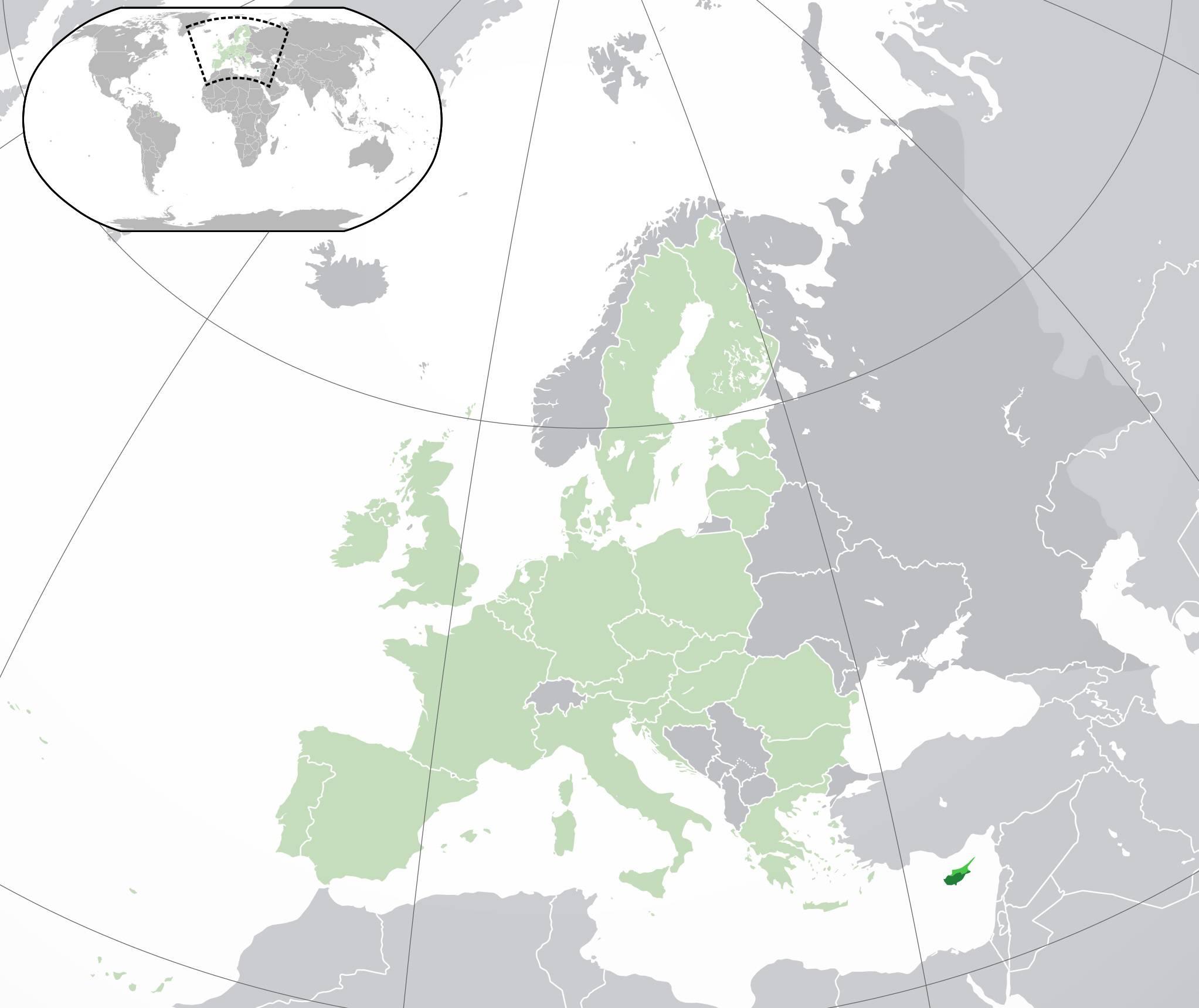 Chypre sur une carte de l'Europe